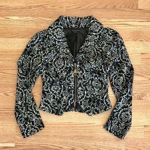 F21 Tapestry Zipper Jacket Black White Jacquard S